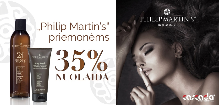 """-35 % nuolaida visoms """"Philip Martin's"""" priemonėms."""
